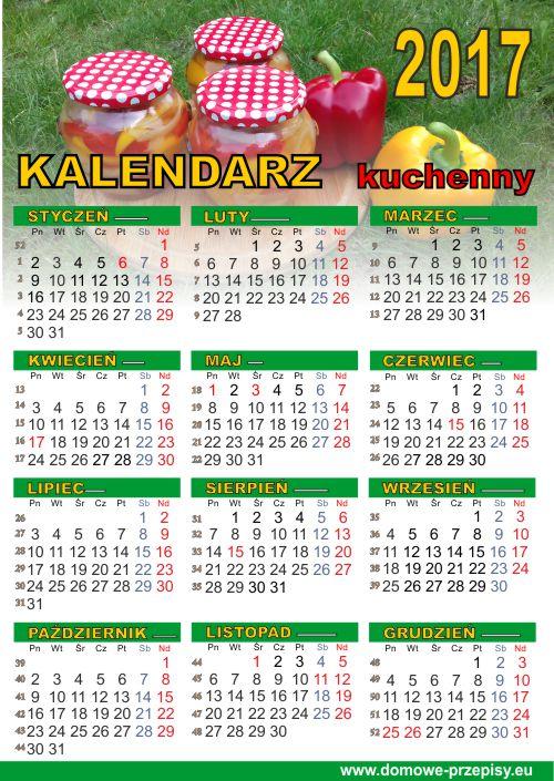 Kalendarz kulinarny kuchenny na 2017 do druku