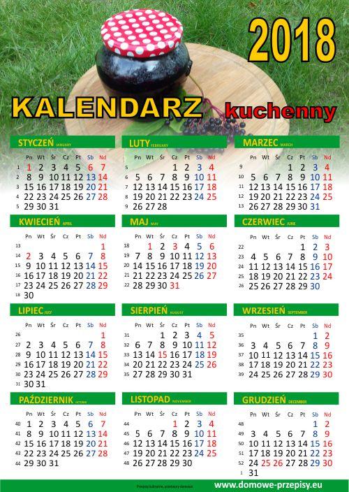 Kalendarz na 2018 rok kulinarny