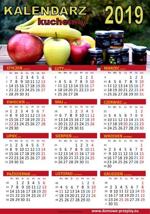 Kalendarz na 2019 rok kulinarny